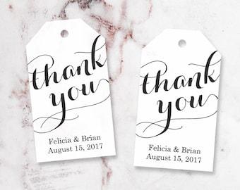 Je vous remercie Tag - Tags Merci personnalisé - Party Etiquettes - Bridal Shower Tags - parti Merci Tags - balises personnalisées - petit
