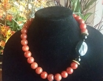Fire Agate and Onyx Gemstone Necklace