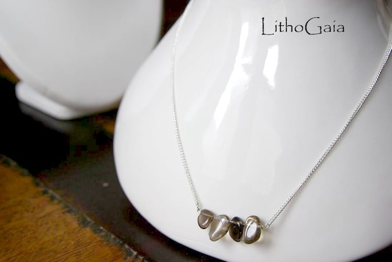 Smoky Quartz Bar Necklace on 925 Sterling Silver, Crystal Jewelry, Gemstone Bar, Gift for Her, Root Chakra, Smoky Quartz Birthstone Jewelry