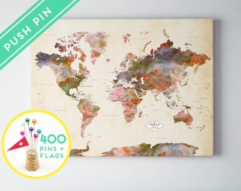 World map posters canvas frames and guest books by macanaz headboard world map push gumiabroncs Gallery