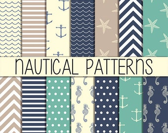 Nautical Patterns: set of 14 digital nautical papers, instant download, 12x12 inch, kraft papers, scrapbooking, web design, card making