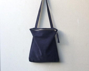 Blue suede bag,Navy leather tote,Blue leather bag,Blue suede handbag,Blue zipper bag
