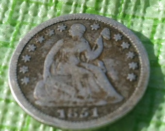 1851 Half Dime ,  partial  Liberty  #M1035. Old US coin