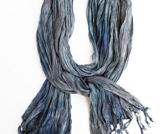 "Blue grey crinkle scarf - crinkle scarf - fringe scarf - grey, blue grey, wedgewood blue - Pantone Stormy Weather - hand dyed - 20"" x 70"""