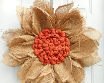Fall wreath Fall Sunflower wreath Sunflower wreath Autumn wreath Autumn Sunflower wreath Paper mesh sunflower Ready to ship