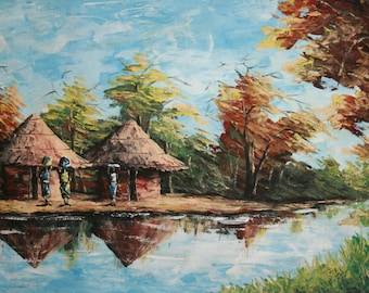 Vintage Oil Painting, African Landscape River Huts
