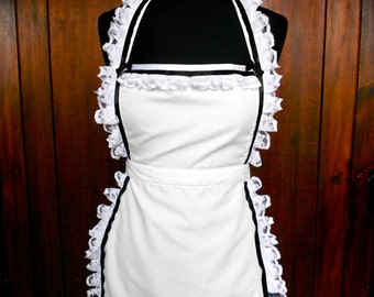 Alice in Wonderland Apron - Lolita Costume In Vintage Look French Maid Black and White Cosplay