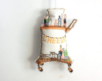Bar cart ornament- christmas ornament- Tree decorations