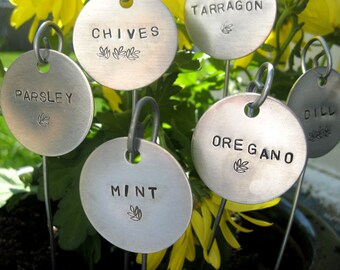 "garden markers - hand stamped  1-1/2"" round.... set of 5 CHOOSE YOUR OWN"