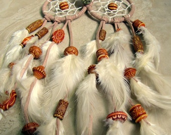 Owl Dream Catcher - Beige, Ivory, White and Burnt Orange Beaded Feather Dreamcatcher