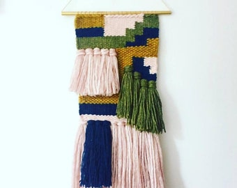 """TEMPORARILY UNAVAILABLE 9"""" x 25"""" Handwoven Wall Hanging / Tapestry Weaving (""""Non Stop"""")"""
