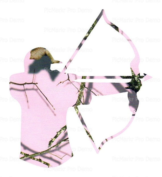Pink Camo Bow Hunting - Edible Cake and Cupcake Topper For Birthday's and Parties! - D21608