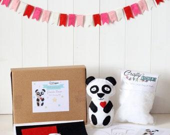 Make Your Own Felt Panda Kit, Panda Bear Felt Sewing Kit, DIY Felt Panda Sewing Kit, Make a Panda Craft Kit, Easy To Sew Felt Panda Kit