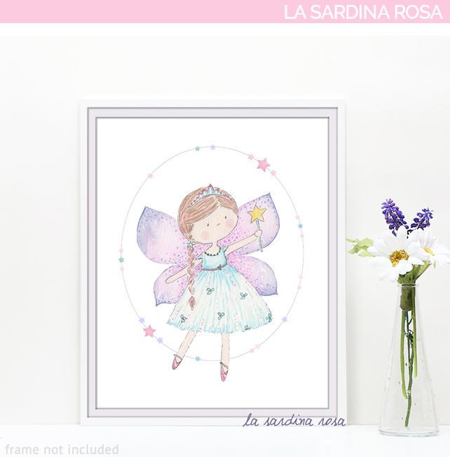Stampa fatina quadretto camera bambina illustrazione favole for Camera bambina