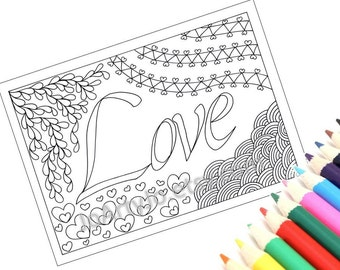 Printable Coloring Page, Love, Zentangle Inspired Instant Download- Page 47