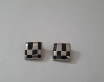 "Alicia Earrings - Clip-on, 950 Silver, 1"" Square """