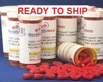 Novelty Meds CUSTOM HEARTS CANDY (Gag Gift Fake Pills) Rx - Great Gift for Anyone and Any Occasion!