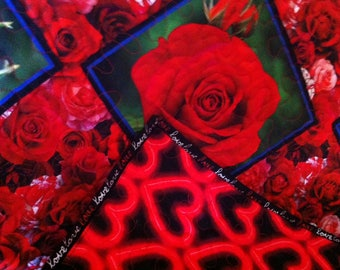 Roses and Carnations  Lap Quilt perfect for Mother's Day or Valentine's Day gift
