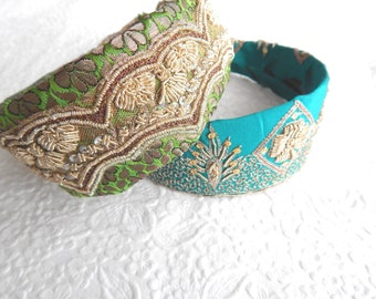 Teal green beaded embroidered fabric headbands for women, boho style,  summer hair, 1.75 inch headbands