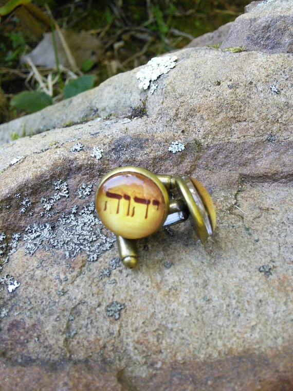 JW Gold Tetragrammaton  CUFFLINKS 14mm Antique Brass and Glass. Jw.org.  Blue velvet gift pouch included.