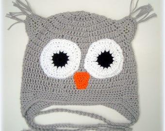 Boys grey owl hat . Crochet cotton hat . 100 % cotton yarn . Perfect gift . Happy  Ulula  UK
