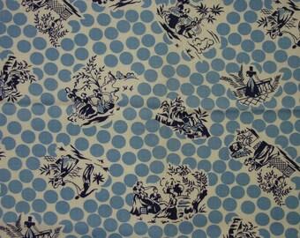 "Fabulous Vintage Feedsack, Fabric, Novelty Figural on Polka Dots  36 1/2 x 43"""