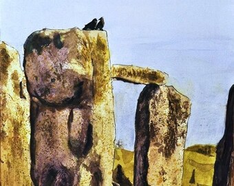 The birds of stonehenge 12x14 print limited edition signed.