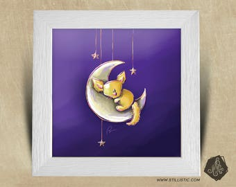 Frame square 25 x 25 birth gift with sands boy nursery Illustration baby Fox