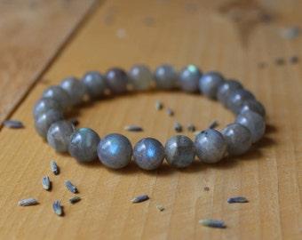 Labradorite Bracelet Meditation Bracelet Labradorite Mala Yoga Bracelet Chakra Balancing Gemstone Beaded Stretch Bracelet Reiki Healing