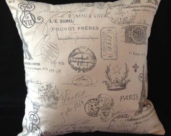 SOFT FRENCH Grey ParisFully Lined Linen Buttoned Pillow Cover (1266)