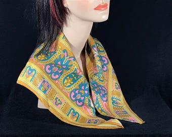 50s scarf in crazy color scheme, vintage scarf