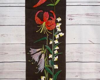 Swedish Wall Hanging, Floral Embroidery, Flowers on Dark Brown Linen, Wall Decor Fiber Art, 1960s Mid Century, Scandinavian Textile, Sweden