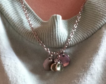 Initials necklace with birthstones