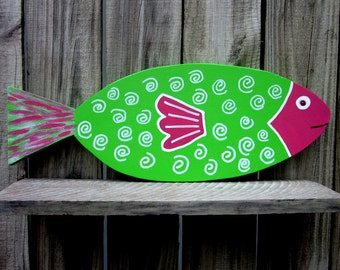 Painted Wood Fish, Colorful Fish, Lime Green, Hot Pink, Beach Wall Decor, Hand Painted Fish, Tropical Fish, Nautical Decor, Wall Hanging
