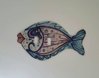 Fish Light Switch Plate, Pottery Fish Double Switch Plate