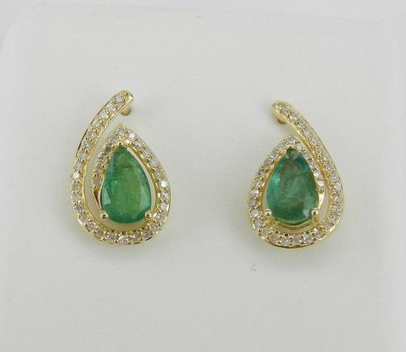 1.50 ct Emerald and Diamond Stud Earrings May Birthstone Studs Yellow Gold Earrings