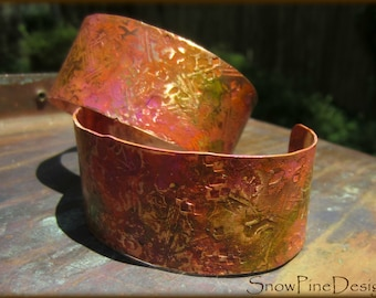 Kalidoscope Shades Patina'd and Textured Adjustable Copper Cuff Bracelet