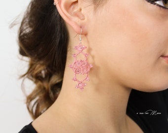 Delicate pink lace earrings, pendant earrings, boho style