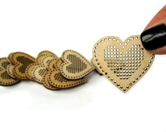 Set of 3, Cross Stitch Pendant, Heart, 38x35 mm, Cross Stitch Blank, Plywood Blank, Pendant, Earring, Brooch, Necklace, Laser Cut