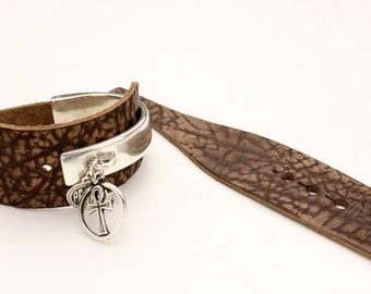 Distressed Vintage Brown Leather Strap for Half Cuffs w/ two points OR 2pc Half Cuff KIT