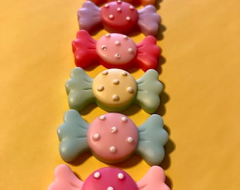 Candy Flatback Resin Cabochon 1 inch  - pastel colors