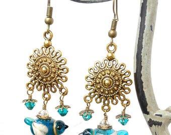 Lampwork Earrings/ Bird Earrings/ Bird Jewelry/ Bluebird/ Blue Bird Earrings/ Handmade Lampwork Beads/ Glass Bird/ Lampwork Bird