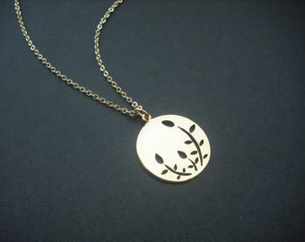 Bridesmaid necklace, 16K gold plated necklace with  Leaves Shape Cut Out Round Disk