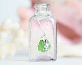 Sea Turtle Sea Glass Necklace Seaturtle Necklace Sea Glass Pendant Sea Glass Jewelry Beach Glass Jewelry Sea Turtle Jewelry Gift for Her