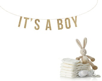 IT'S A BOY Gold Glitter Banner.  It's a boy Glitter Garland.  Baby Shower Garland. Nursery Decoration. Adoption Party.