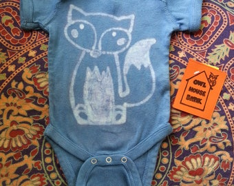 Newborn Blue Batik Fox Onesie