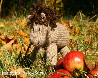 Apples: Knitted Pony Stuffed Animal Horse Natural Waldorf Inspired Eco Friendly Toy