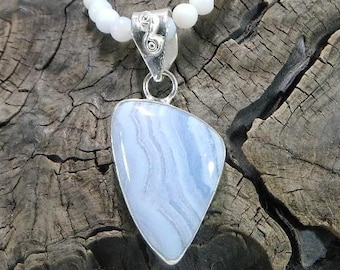 """Sky blue lace agate necklace 20"""" long rounded triangle pendant lilac semiprecious stone jewelry packaged in a colorful gift bag  10774"""