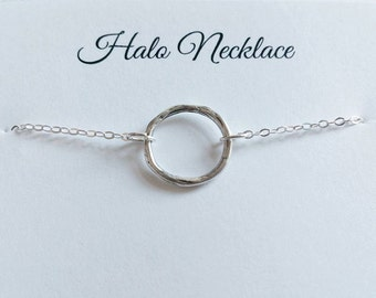 Modern Halo Necklace - Karma, Eternity, Infinity, Circle, Ring - Handmade Sterling Silver Necklace