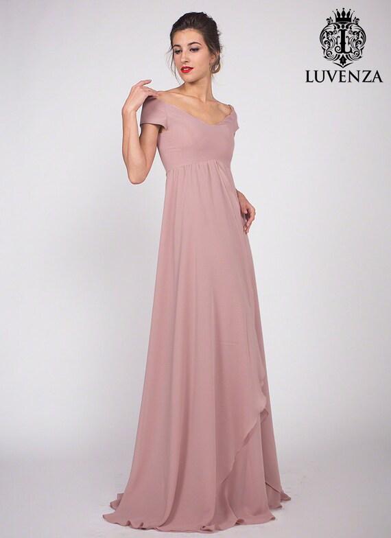 Staubigen rosa Chiffon Maxi Kleid Brautjungfernkleid ab
